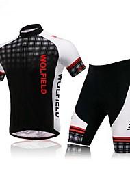economico -WOLFBIKE Per uomo Manica corta Maglia con pantaloncini da ciclismo Bicicletta Pantaloncini /Cosciali Maglietta/Maglia Set di vestiti,