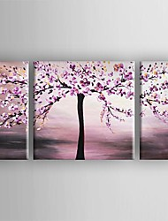 cheap -Oil Painting Hand Painted - Floral / Botanical Canvas Three Panels