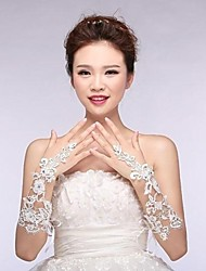 cheap -Cotton Wrist Length Elbow Length Glove Charm Stylish Bridal Gloves With Appliques Embroidery Solid