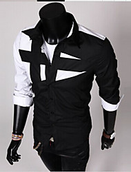 cheap -Men's Cotton Slim Shirt - Color Block Black & White, Patchwork Spread Collar / Long Sleeve