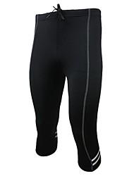baratos -Arsuxeo Homens Calças Para Ciclismo / Camiseta Segunda Pele / Leggings de Corrida Esportes Sólido Meia-calça Roupas Esportivas Secagem