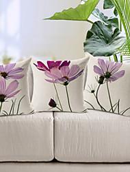 3 pçs Algodão/Linho Cobertura de Almofada,Floral Moderno/Contemporâneo