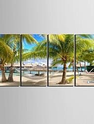 e-home® o relógio praia em lona 4pcs