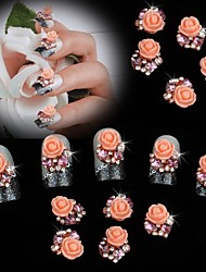 Недорогие -10шт жемчуг розовый цветок розы 3d горный хрусталь DIY аксессуары Nail Art Decoration