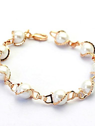 Concise Style Simulated Pearl Bracelet 18K Rose/White Gold Plated Top Quality Jewelry