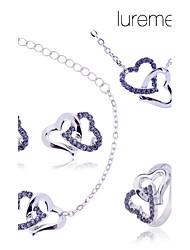 lureme double set colar de coração pulseiras, brincos jóias anel das mulheres (cores sortidas)