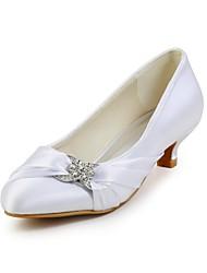 baratos -Mulheres Sapatos Cetim Primavera / Verão / Outono Salto Baixo Pedrarias Marfim / Branco / Casamento / Festas & Noite / Festas & Noite