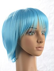 cheap -120% Density Synthetic Hair Blue Wig Party