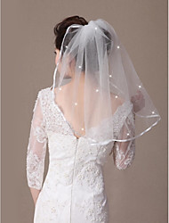 cheap -One-tier Ribbon Edge Beaded Edge Wedding Veil Shoulder Veils 53 Scattered Crystals Style Ribbon Tie 21.65 in (55cm) Tulle
