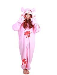 baratos -Pijamas Kigurumi Urso Guaxinim Urso sombrio Pijamas Macacão Ocasiões Especiais Lã Polar Rosa claro Cosplay Para Adulto Pijamas Animais