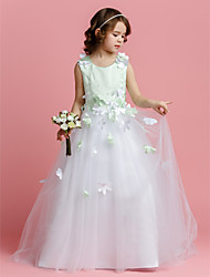 cheap -A-Line / Princess Sweep / Brush Train Flower Girl Dress - Satin / Tulle Sleeveless Jewel Neck with Beading / Flower by LAN TING BRIDE® / Spring / Summer / Fall