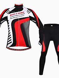 povoljno -wolfbike muške jesen zima mountain bike prozračna dugih rukava biciklizam odijelo - crna + crvena