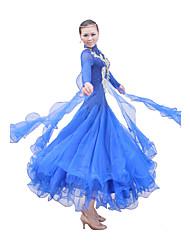 abordables -Danse de Salon Tenue Robes Femme Spectacle Entraînement Coton mercerisé Satin soyeux élastique Tulle Manche longue