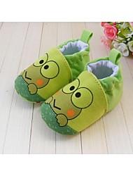 Para Meninos Bebê Rasos Primeiros Passos Sapatos de Berço Algodão Primavera Outono Inverno Atlético Elástico Rasteiro Verde Rasteiro