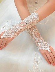 cheap -Tulle Elbow Length Glove Bridal Gloves With Rhinestone