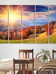 e-FOYER toile tendue montagnes d'art et arbres peinture décorative série de cinq