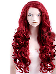 Capless Red Extra Long High Quality Natural Curly Synthetic Wigs