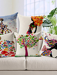cheap -5 pcs Cotton / Linen Pillow Cover, Novelty Modern / Contemporary