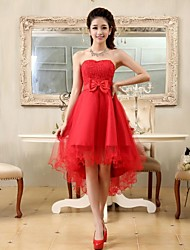 A-Line Princess Strapless Asymmetrical Chiffon Lace Cocktail Party Homecoming Dress with Bow(s) Lace Sash / Ribbon by Embroidered bridal
