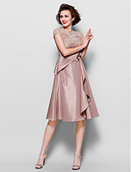 cheap -A-Line Scalloped Knee Length Lace Taffeta Mother of the Bride Dress with Beading by LAN TING BRIDE®