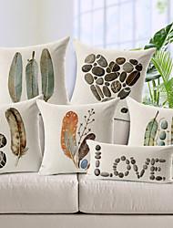 Cotton/Linen Pillow Cover , Nature Modern/Contemporary