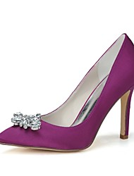 cheap -Women's Spring Summer Fall Winter Satin Wedding Party & Evening Stiletto Heel Black Blue Pink Purple Red Ivory Silver Champagne