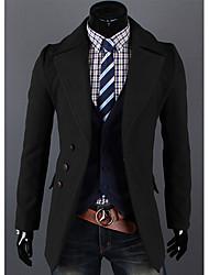 Недорогие -kailuo мужская мода случайные шею лацкане сплошной цвет пальто