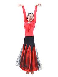 abordables -Robes(Noire Fuchsia Rouge,Satin Tulle,Salle de bal)Salle de bal- pourFemme Spectacle Entraînement Danse de SalonPrintemps, Août, Hiver,