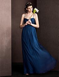 bainha / coluna espaguete tiras comprimento do chão vestido de dama de seda com draper criss cross by lan ting bride®