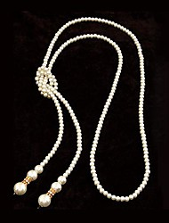 European Style High-quality Imitation Pearls Simple Long Necklace(More Colors)