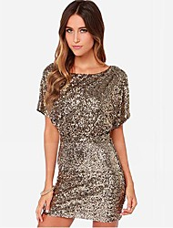 cheap -Women's Sequin/Backless Gold Sexy Backless Sequined Party Dresses
