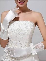 elastischem Satin Ellenbogen Länge Hochzeit fingerlosen Handschuhen mit Blumen asg28