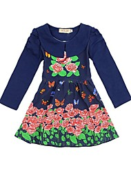 Girl's Floral Dress,Cotton Blend Fall / Spring Blue / Purple / Yellow