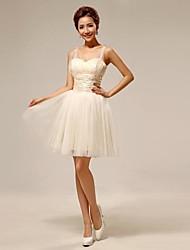 Plesové šaty bez ramínek krátké / mini tyly družičky šaty s bandáží