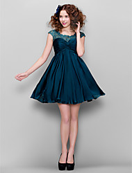 cheap -A-Line Illusion Neckline Short / Mini Satin Chiffon Cocktail Party Homecoming Dress with Beading Ruched by TS Couture®