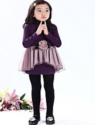 cheap -Girl's Solid Dress Spring Fall Long Sleeves Black Purple