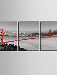 cheap -E-HOME® Stretched Canvas Art Bridge Decoration Painting Set of 3