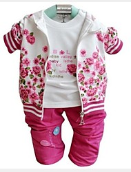 Girl's Three Pieces Sets 2015 Spring Baby Sets Hoody Tshirt Pants Baby Girl Clothing Sets