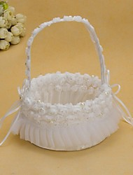 cheap -Pretty Wedding Flower Basket With White Organza Rose Flower Girl Basket