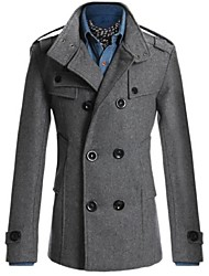 cheap -Men's Solid Casual Trench coat Long Sleeve-Black / Blue / Gray