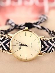 Недорогие -женская золотая случае цепь полоса ткани Кварцевые аналоговые часы браслет (разных цветов)