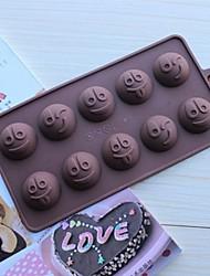 10 buracos moldes expressões forma de bolo de gelo geléia de chocolate, silicone 15 × 14,5 × 1,5 centímetros (6,0 × 5,8 × 0,6 polegadas)