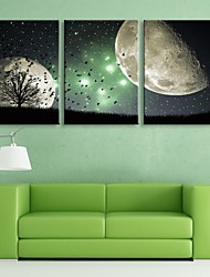 cheap -E-HOME® Stretched LED Canvas Print Art The Night Scene Flash Effect LED Flashing Optical Fiber Print Set of 3