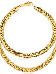 """Недорогие -u7®18k реального Позолоченные Ожерелье браслет с """"18k"""" марки коренастый змея цепи набора ожерелье ювелирных изделий"""
