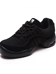 cheap -Men's Dance Sneakers Fabric Split Sole Low Heel Non Customizable Dance Shoes Black