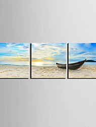 cheap -E-HOME® Stretched Canvas Art The Ship Docked At The Shore Decoration Painting Set of 3