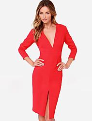 economico -vestito di colore solido delle donne Kakani europeo collo di modo V manica lunga