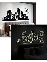abordables -Forme Noël Architecture Bande dessinée Stickers muraux Autocollants muraux lumineux Autocollants muraux décoratifs, PVC Décoration