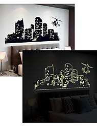 adesivos de parede adesivos de parede luminosos, estilo de vários andares edifícios parede pvc etiquetas