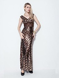 cheap -Women's Street chic Trumpet/Mermaid Dress - Geometric, Sequins